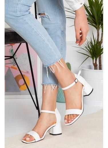 Derithy Losya Topuklu Ayakkabı-Rose-Byc1308 Beyaz